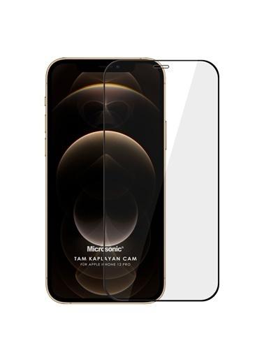 Microsonic Apple iPhone 12 Pro Tam Kaplayan Temperli Cam Ekran Koruyucu Siyah Siyah